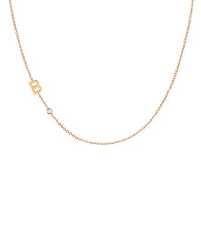 Side Chic Personalized Asymmetric Initial & Diamond Bezel Necklace in 14K ...