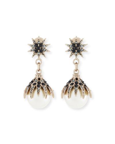 Ron Hami Diamond & Pearl Fan Statement Earrings E2pI622