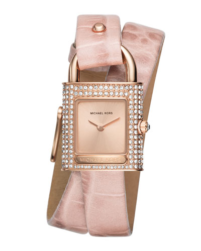 Isadore Rose-Golden Padlock Watch with Pink Leather Wrap Strap