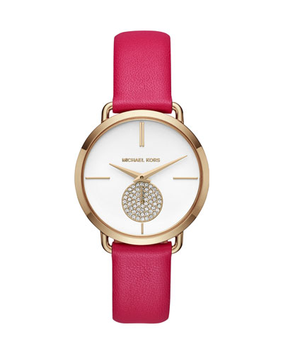 Portia Watch with Pink Leather Strap