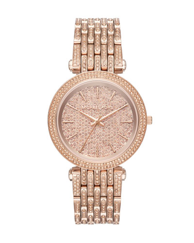 Darci Rose-Golden Bracelet Watch with Crystals