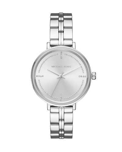 Bridgette Stainless Steel Bracelet Watch with Crystals