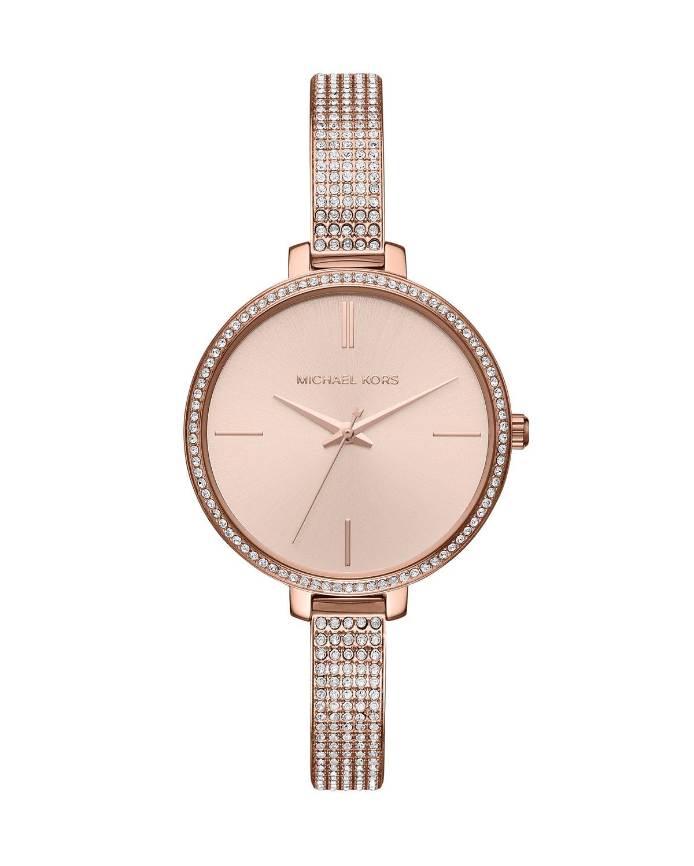 Jaryn Rose-Golden Crystal Bangle Watch