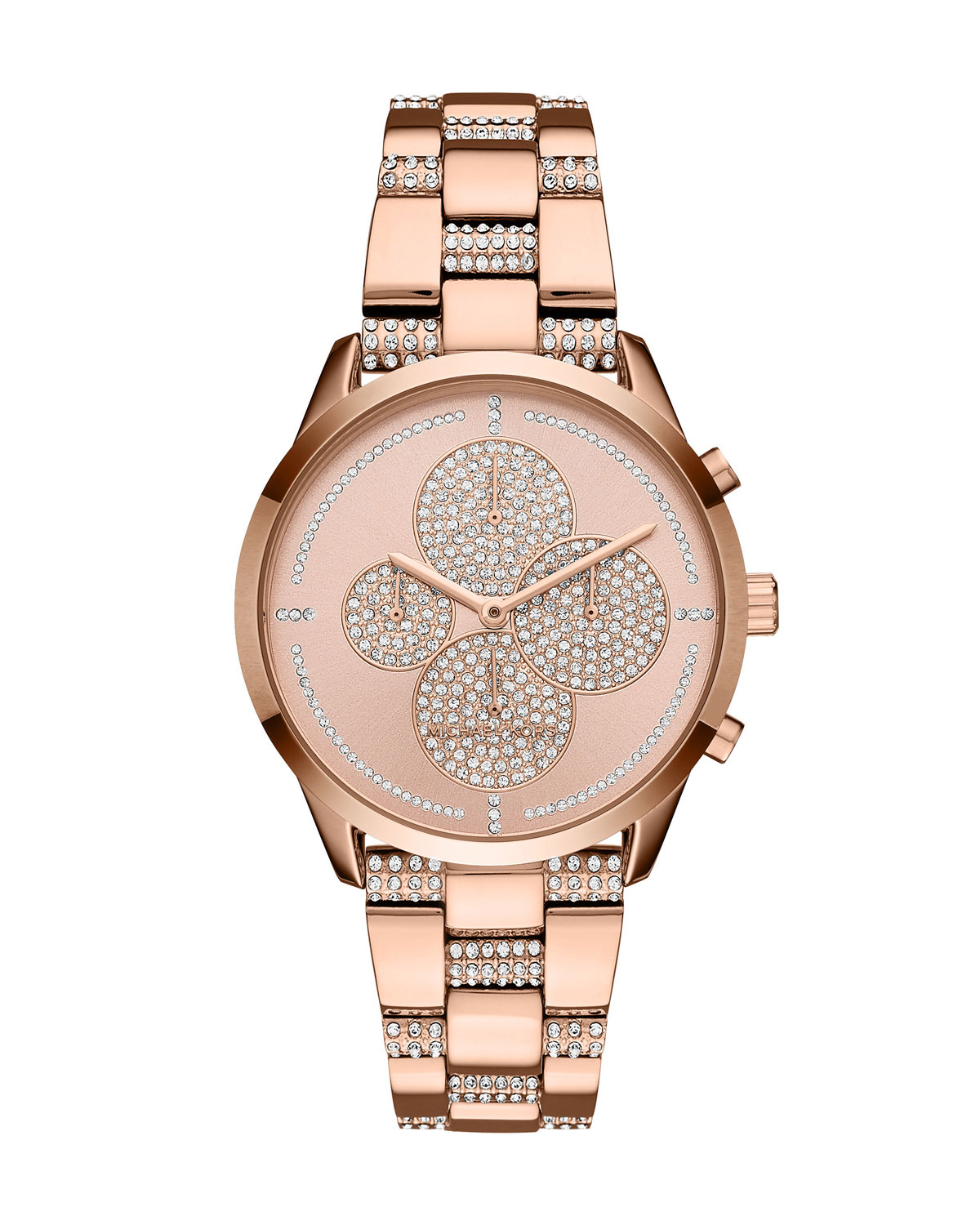 Slater Rose-Golden Crystal Chronograph Watch
