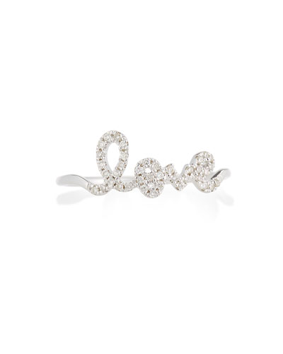 14k White Gold Diamond Love Script Ring, Size 6.5