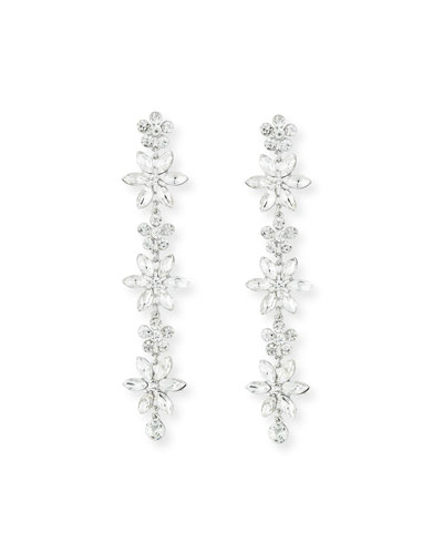 Marquis Crystal Flower Drop Earrings