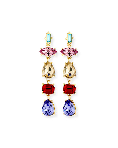 Mixed-Shape Crystal Drop Earrings