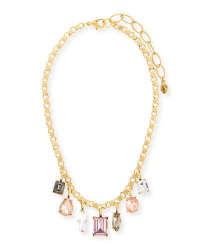 Multicolor Dangling Crystal Statement Necklace, Pink/Neutral