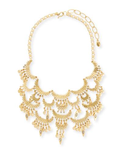Tiered Golden Bib Necklace