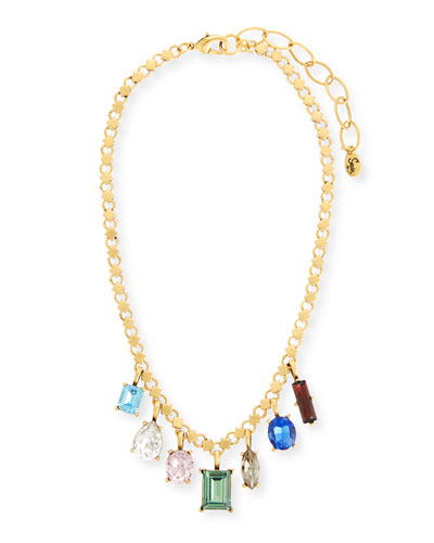 Multicolor Dangling Crystal Statement Necklace