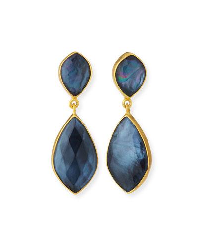 Hematite Triplet Double-Drop Earrings