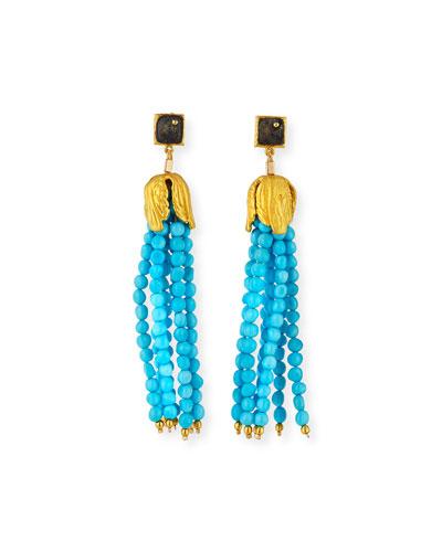Sleeping Beauty Turquoise Tassel Earrings