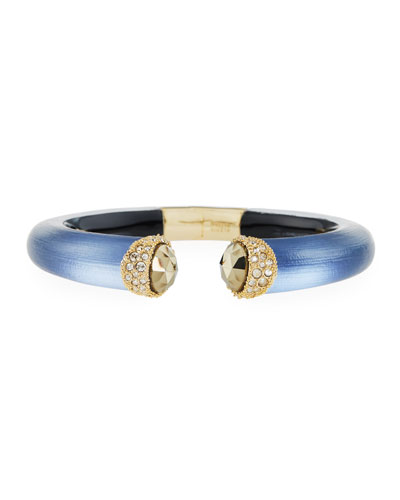 Crystal Brake Hinge Lucite Bangle, Blue