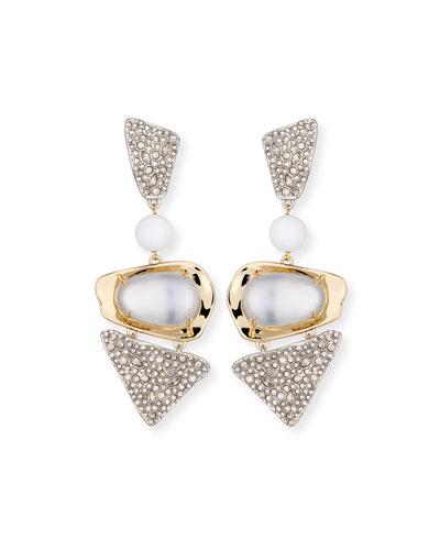 Crystal-Encrusted Powdercoat Clip-On Earrings