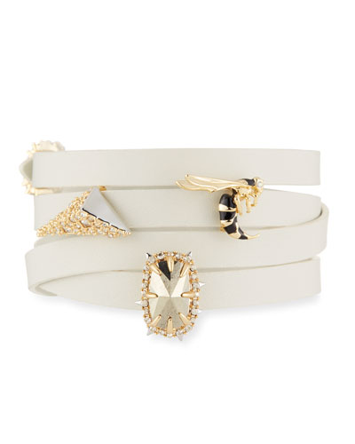 Leather Wrap Bracelet w/Golden Stations