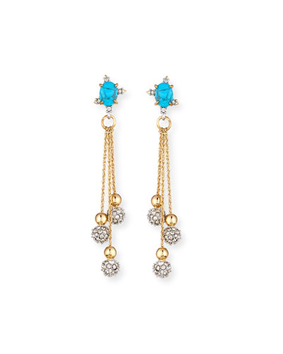 Crystal Ball Drop Earrings, Golden/Turquoise