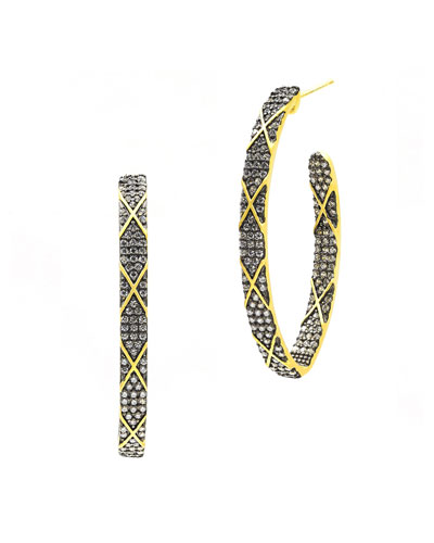 Signature Pointed CZ Stones  Stripe Hoop Earrings