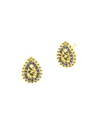 Lattice Motif Droplet Stud Earrings