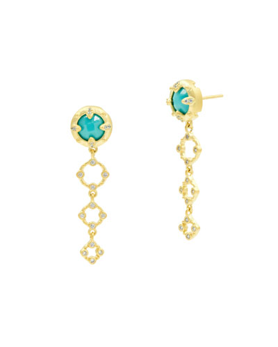 Graduated Round Drop Earrings, Golden/Turquoise
