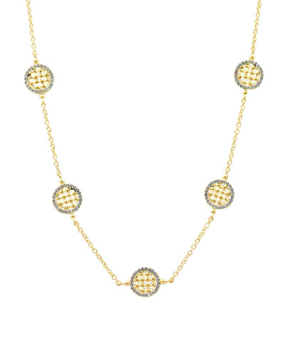 Lattice Motif Circle Trellis Station Necklace