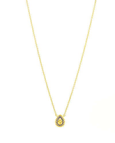 Lattice Motif Teardrop Trellis Pendant Necklace