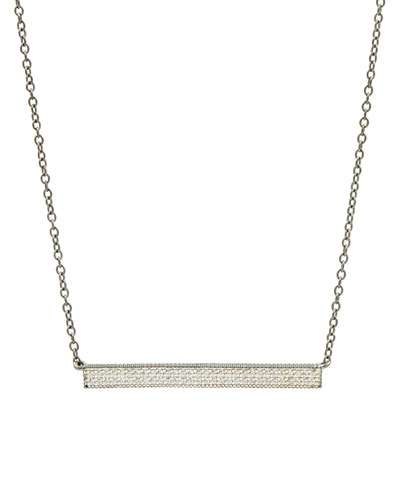 Pave Cubic Zirconia Bar Necklace