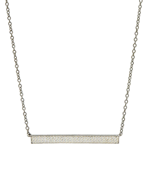 Pave Cubic Zirconia Bar Necklace