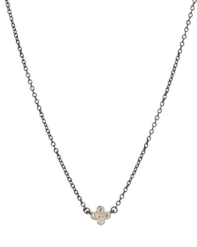 Mini Clover Necklace w/Black Chain
