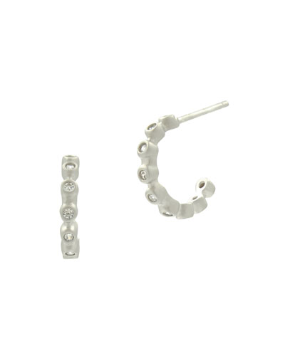 Bezel Cubic Zirconia Huggie Hoop Earrings, White