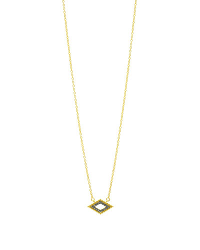 Horizontal Diamond-Shaped Crystal Pendant Necklace