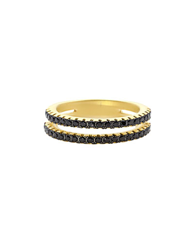 Pavé Black CZ Stones Two-Row Band Ring