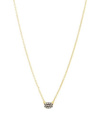 Tiny Pavé Oval Pendant Necklace
