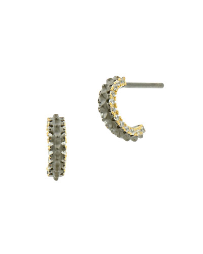 Pave Cubic Zirconia Gear Huggie Hoop Earrings, Black/Golden