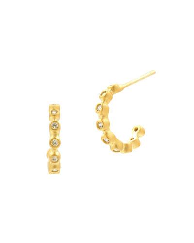 Bezel Crystal Huggie Hoop Earrings, Golden