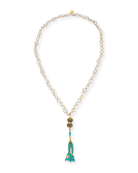 Devon Leigh Turquoise Beaded Tassel Necklace