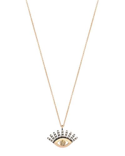 14k Rose Gold Protect Me Evil Eye Diamond Necklace, Champagne