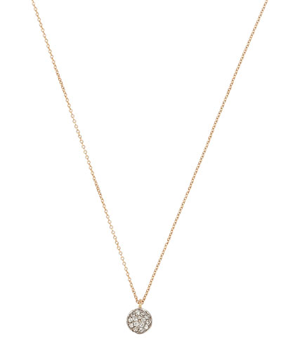 14k Rose Gold Bidik White Diamond Disc Necklace