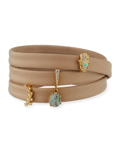 Leather Wrap Bracelet with Charms, Beige
