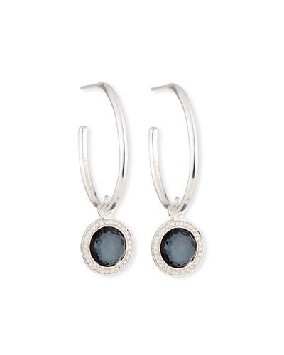 Hematite & Diamond Hoop Drop Earrings