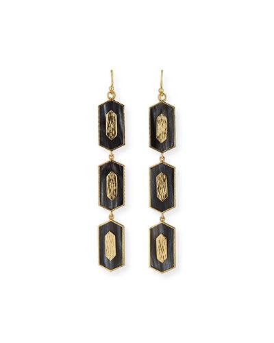 Hexagon Vertical Drop Earrings