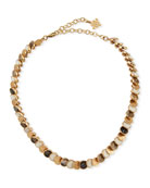 Akola Small Circle Choker Necklace, White/Black