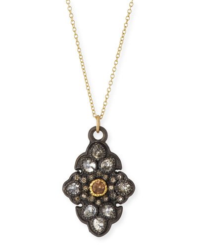 Old World Garnet & Diamond Scroll Pendant Necklace