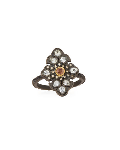 Old World Garnet & Diamond Scroll Ring, Size 6.5