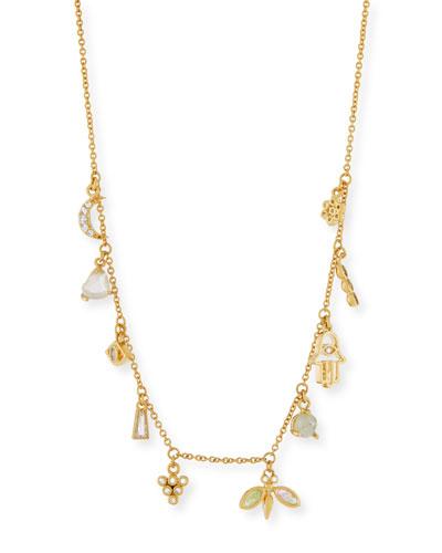 Labradorite & Rock Crystal Dangle Charm Necklace