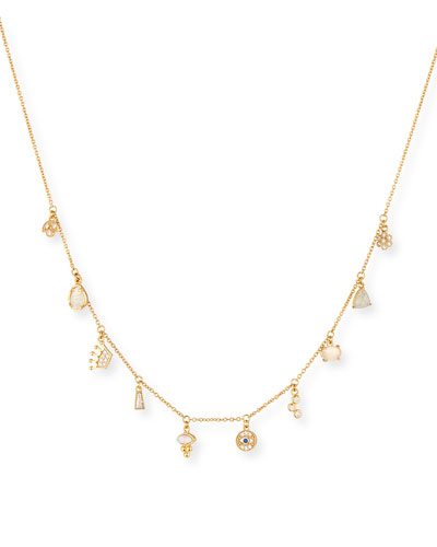 Dangling Crystal Charm Necklace