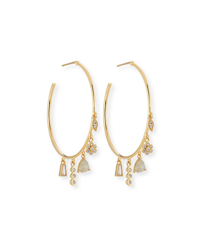 Charm Dangle Hoop Earrings