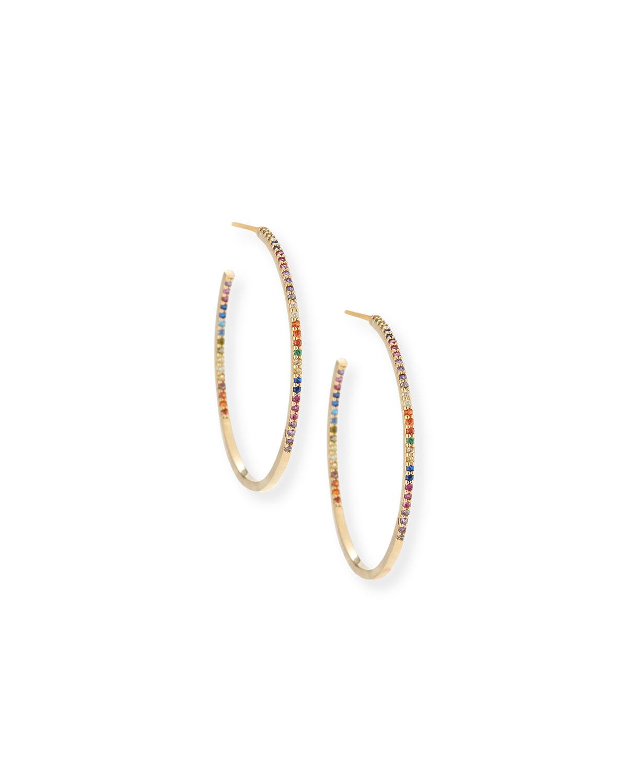 Tai Pave Rainbow Crystal Hoop Earrings