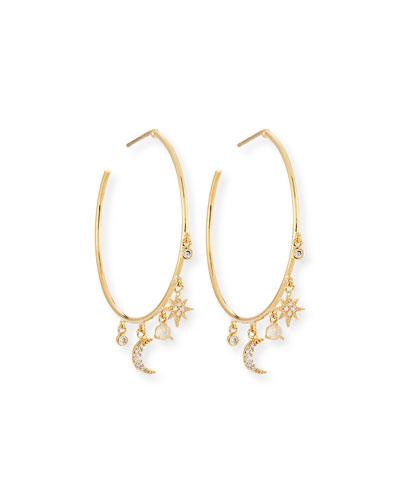 Celestial Crystal Charm Hoop Earrings