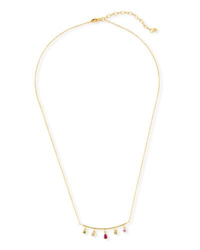 Bar Charm Pendant Necklace, Golden/Pink