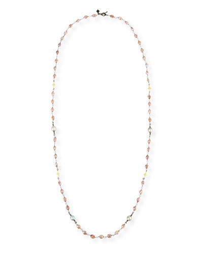Old World Beaded Peach Moonstone Necklace with Diamonds, 38